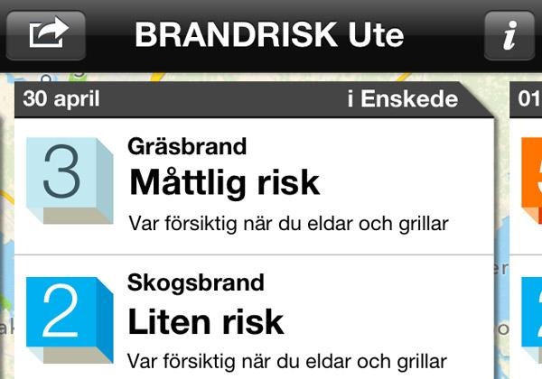Bild från appen Brandrisk Ute