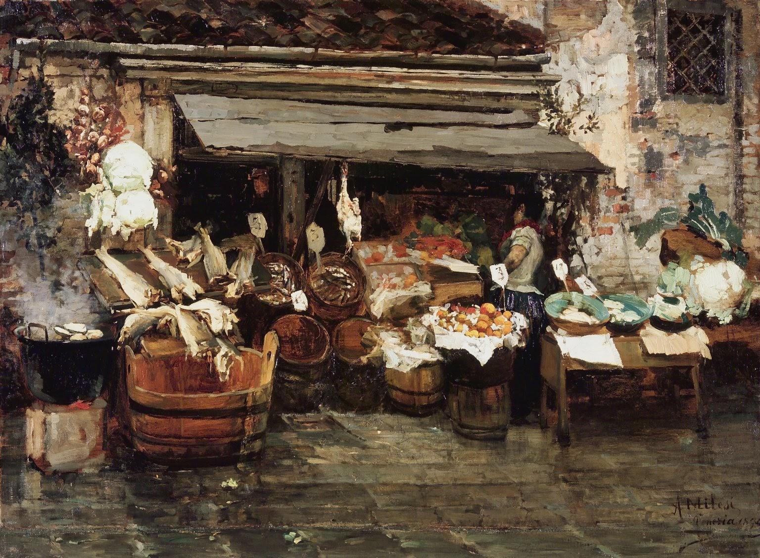 Alessandro Milesi Market  Scene  rooklyn  Museum
