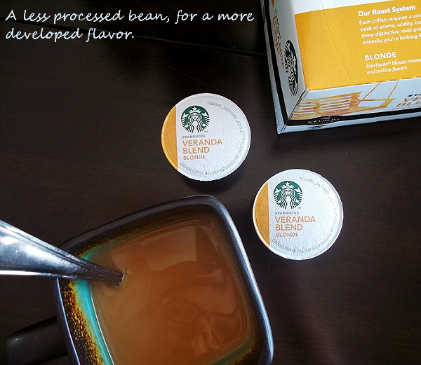 New Starbucks® Veranda Blend® Blonde (Light Roast) Coffee for a more developed flavor with less bean processing.