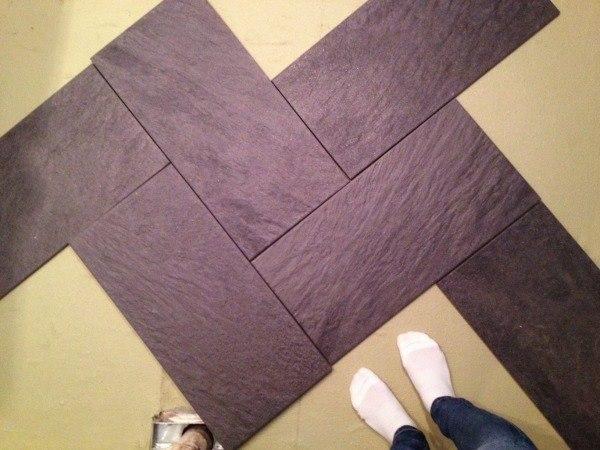 simple herringbone tile pattern with purple tiles