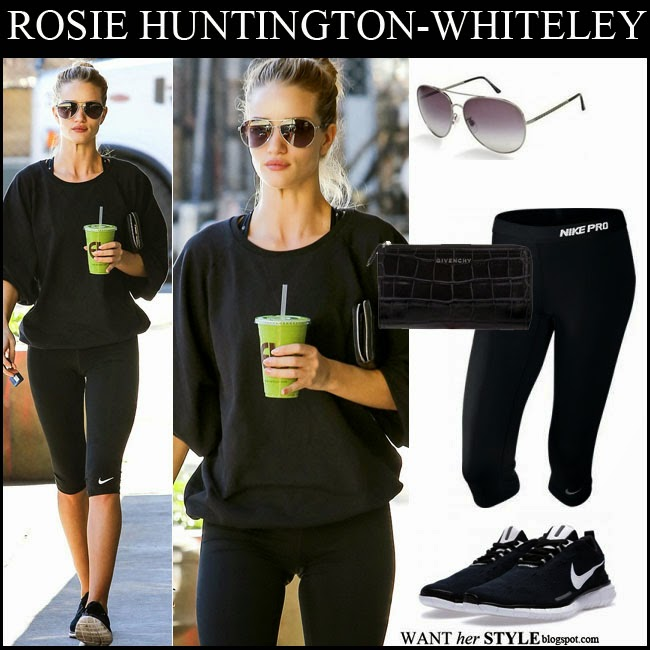 Rosie Huntington-Whiteley in black cropped Nike Pro leggings with black sweatshirt november 26 workout clothes want her style