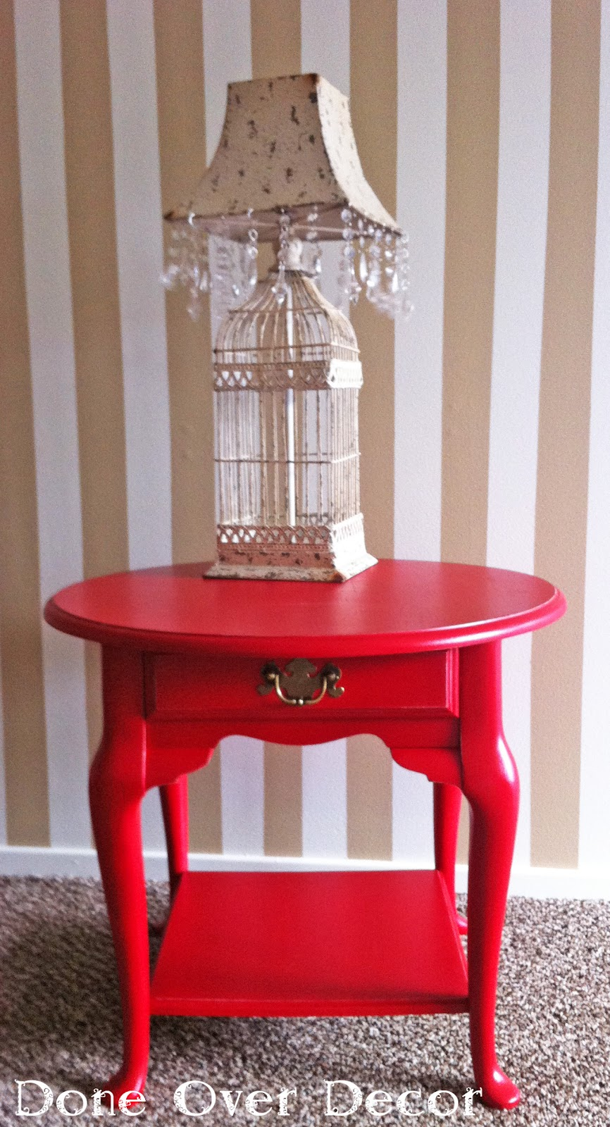 A painted nest custom order red side table for Red side table