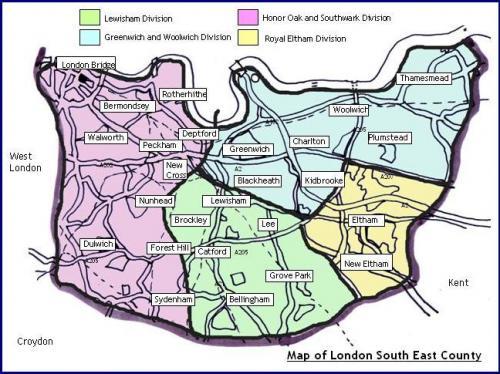 south east london region city map map of london. Black Bedroom Furniture Sets. Home Design Ideas