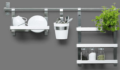 kitchen rail system with flatware caddy