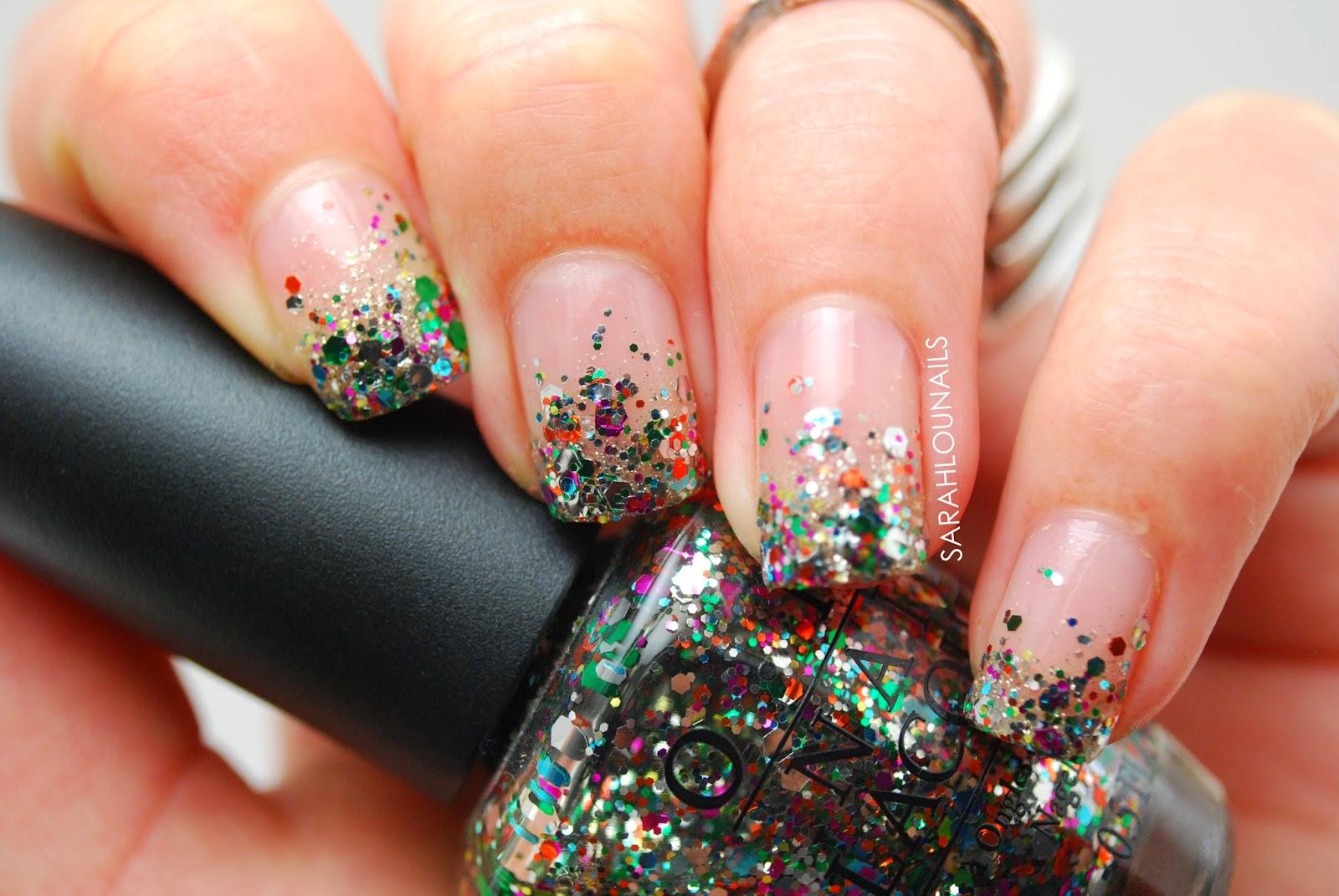 Sarah Lou Nails: Rainbow Glitter Tips!
