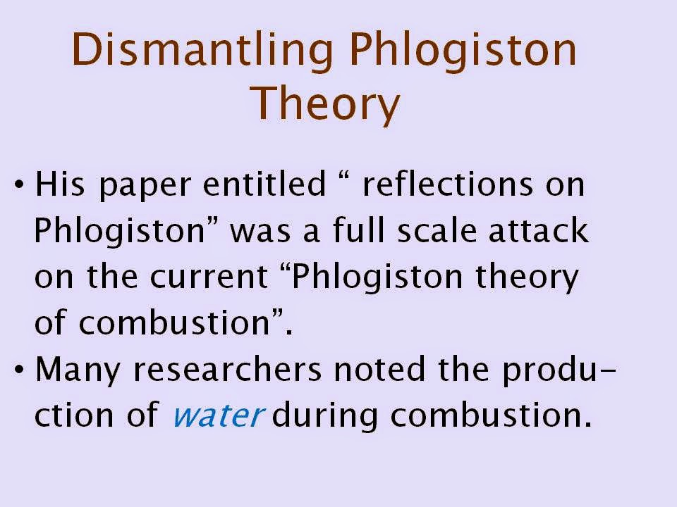 philogiston theory The phlogiston theory was before it waslearned that matter burns by using oxygen most chemists looked to explain combustion as the release of an unknown substance, which they named phlogiston phlogiston theory was a conceptual breakthrough that helped chemists conduct experiments and share ideas.