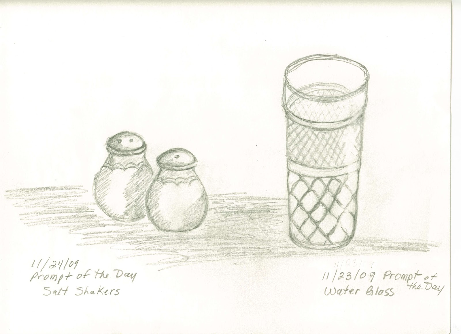Sketches And Things Drinking Glass With Salt And Pepper