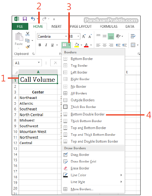 Cara membuat dan memformat border cell di excel 2013 for Html cell border