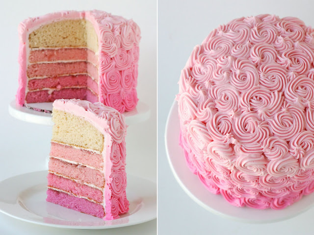 Pink Rose Cake Images : Pink Ombre Swirl Cake   Glorious Treats