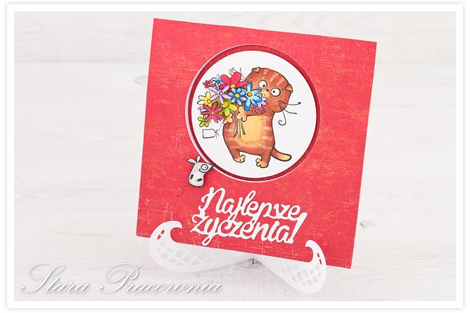 kartki ręcznie robione, cardmaking, kartka z kotkiem, stempel kolorowany Promarkerami, kartka ręcznie robiona, cardmaking
