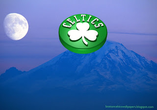 Boston Celtics desktop Wallpapers Celtics Upward Logo in Blue Moon Mountain Desktop wallpaper