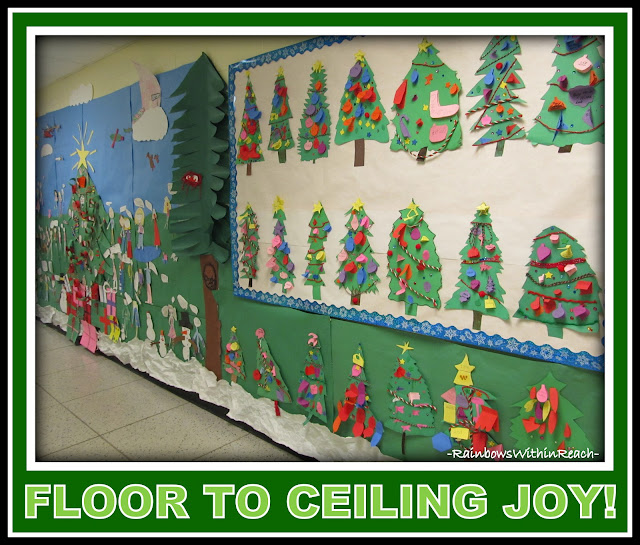 photo of: Christmas 'Wall' of Student Artwork (Christmas Bulletin Board RoundUP via RainbowsWithinReach)