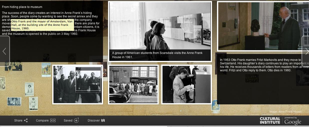 Anne Frank: Women in Culture, Google Cultural Institue, Screenshot