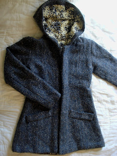 hooded lined herringbone wool jacket