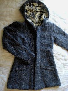 hooded lined herringbone wool jacket