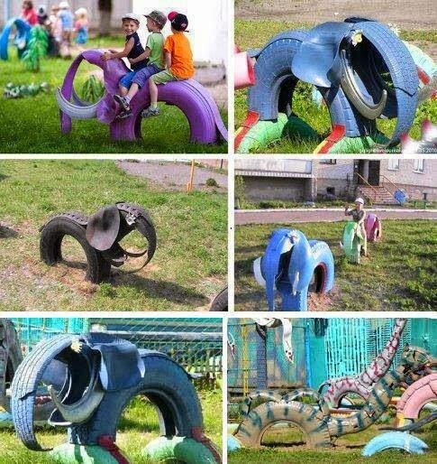 6 Juegos infantiles reciclando neumáticos | Más Chicos