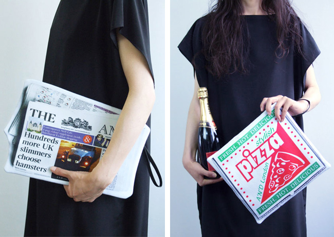 Azumi and David, pizza box bag, newspaper bag