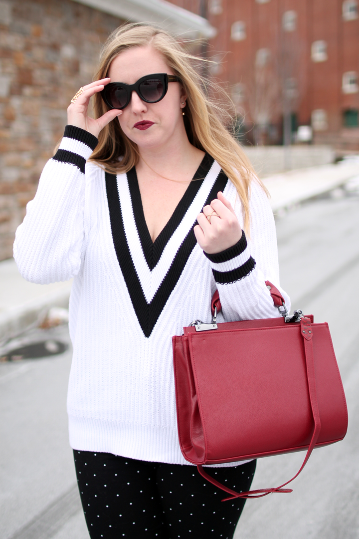nordstrom trouve cricket v-neck sweater, blogger style, boston blogger, nordstrom savvy, black and white outfits