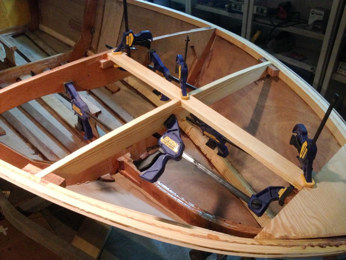 Michael\'s Boatbuilding Blog: Deck framing completed