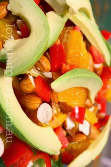 Orange, Almond & Avocado Salad Recipe. Fresh and summery, perfect with chicken! - www.lovethatparty.com.au