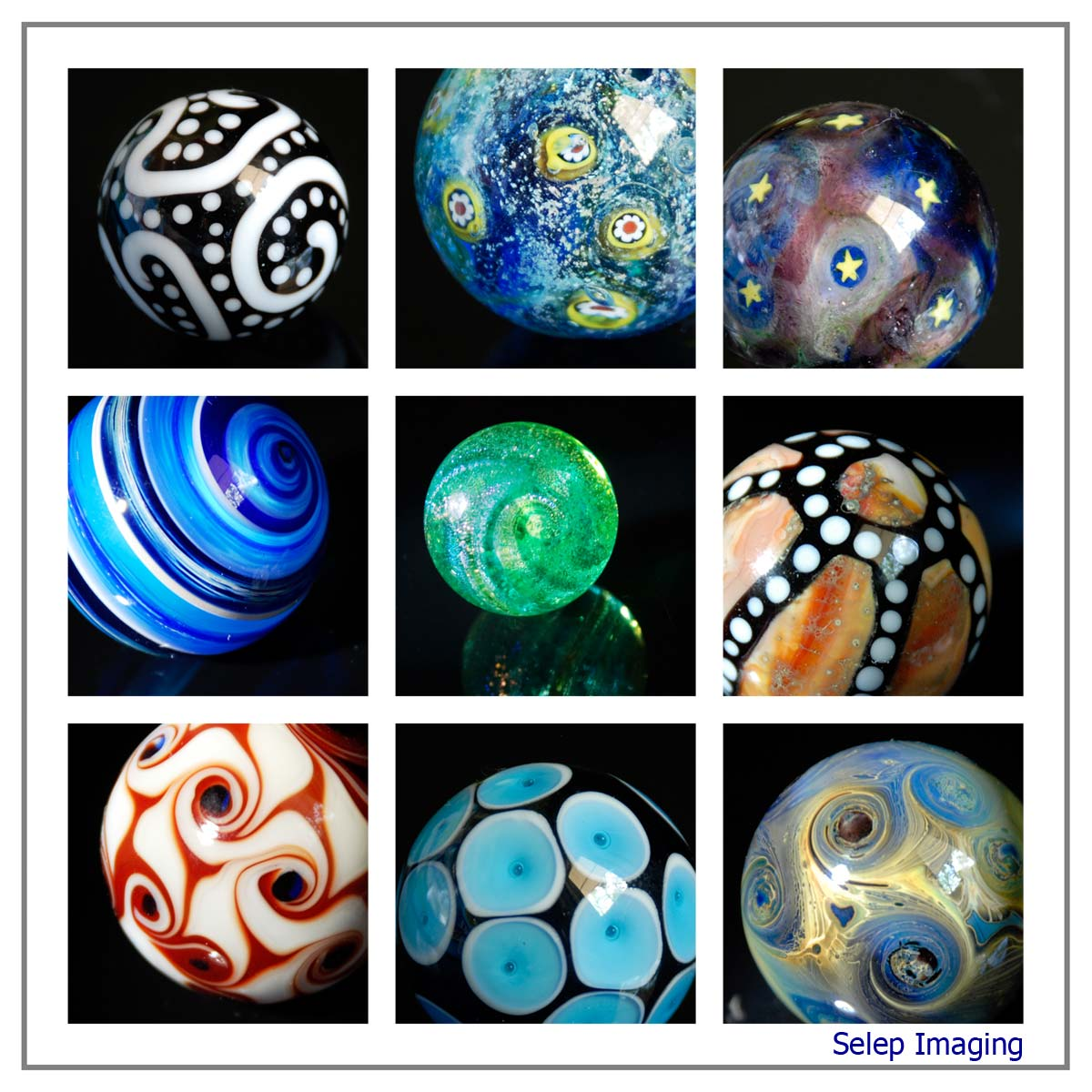 contemporary lampwork glass marbles by Joe Holford and Frank Scott