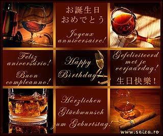 Felicitare cu mesaj in mai multe limbi, pentru ziua de nastere a unui barbat