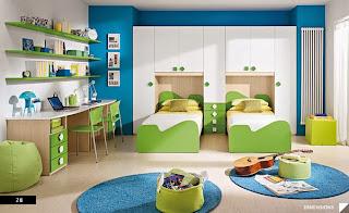 diseño dormitorio juvenil azul verde