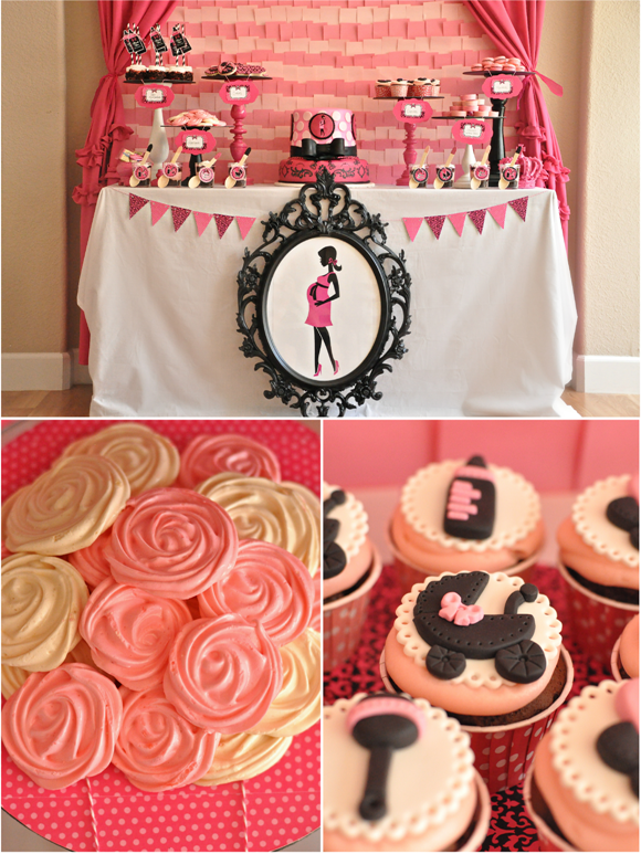 Pink and Black Glam Baby Shower and Printables