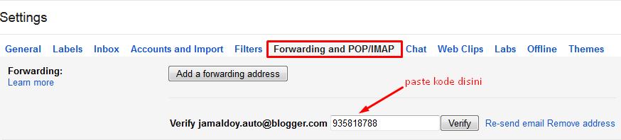 Memasukkan Verify Code pada Gmail