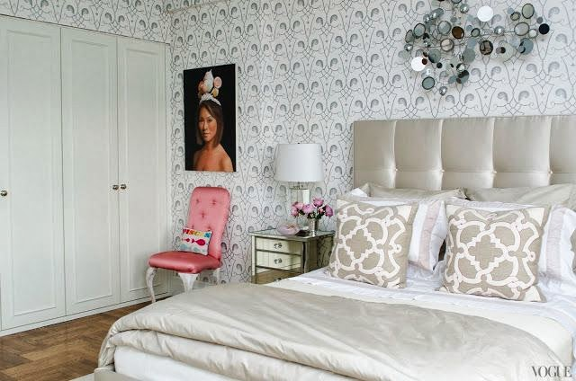 grey, silver and white bedroom