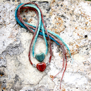 hand-felted heart bead necklace