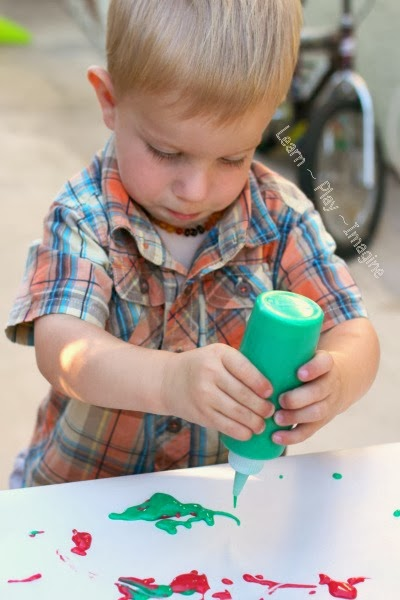 Painting with homemade puffy paint
