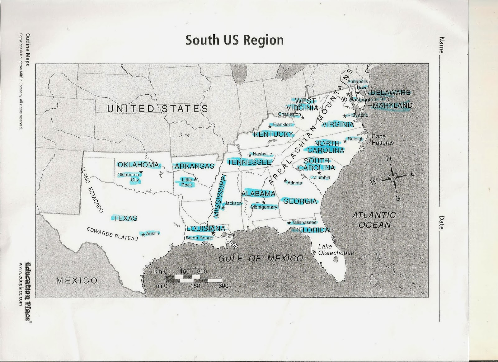 Map Of The South Us Region - South us region map