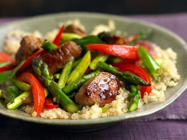 Asparagus, Red Pepper, and Pork Stir-Fry over Quinoa -> Recipe In Article