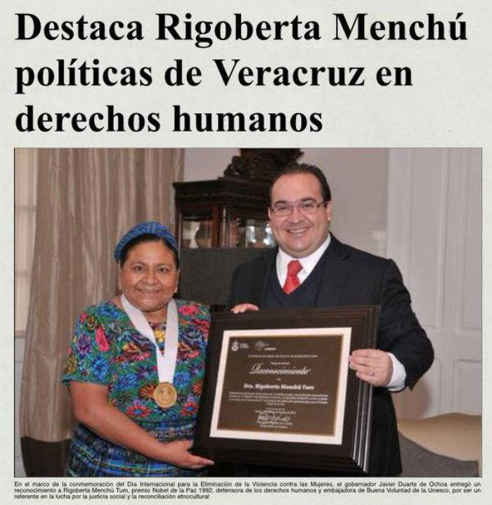 RIGOBERTA MENCHU DESCARADAMENTE DICE QUE EN VERACRUZ ES EJEMPLO EN MATERIA DE DERECHOS HUMANOS…