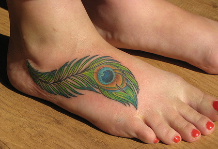 Feather tattoo designs for Feather on foot tattoo