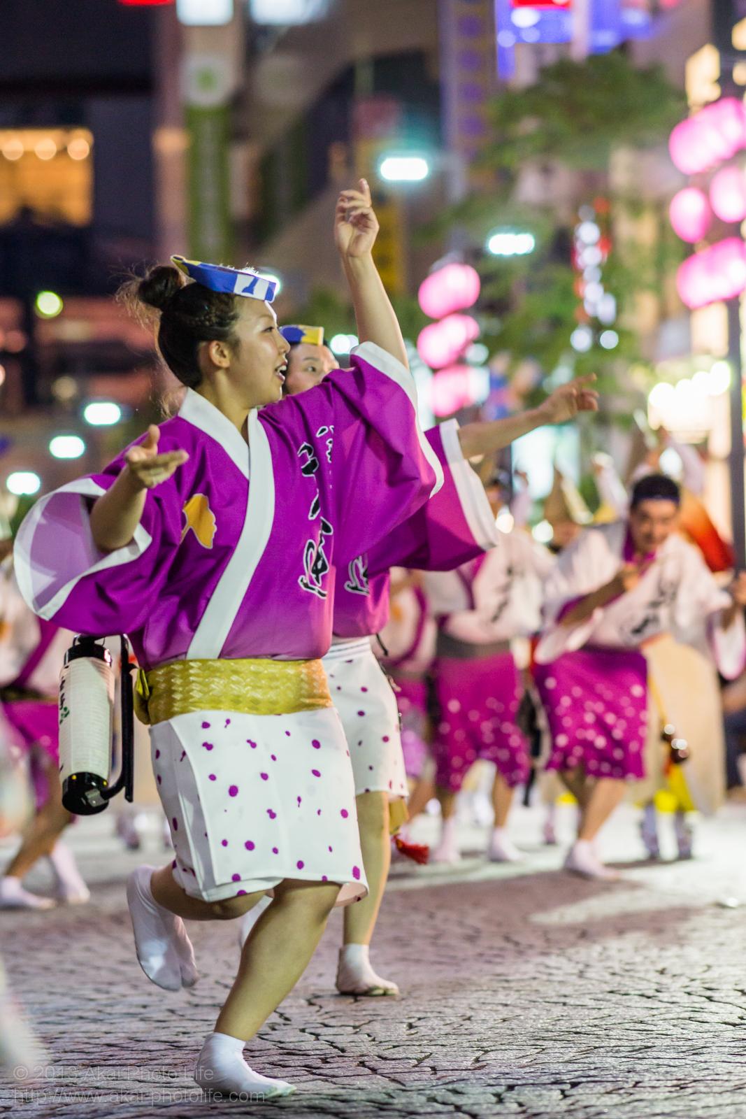三鷹阿波踊り、八王子千人連の女性の男踊り