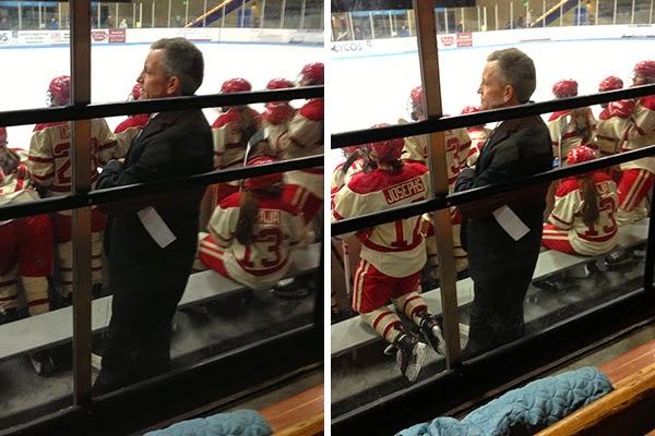 Mark Johnson coaching the University of Wisconsin Badgers women's hockey team