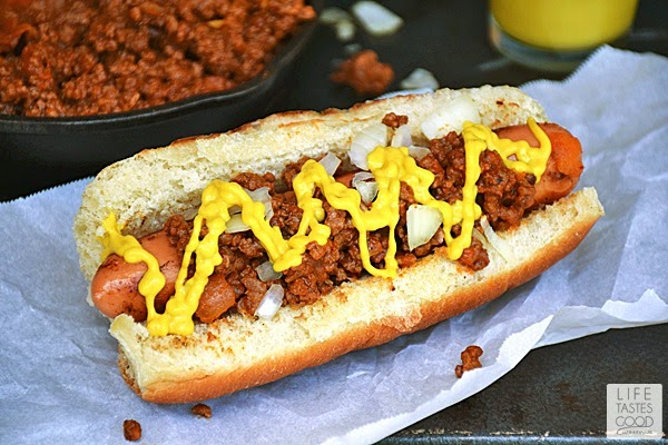 Coney Island Hot Dogs | by Life Tastes Good are natural casing beef hot dogs topped with a meat relish, onions, and plenty of yellow mustard. They taste similar to a chili dog but no beans!