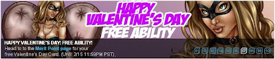 Valentine's Day banner at Superhero City