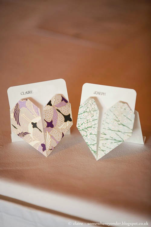 Wedding heart origami table place settings