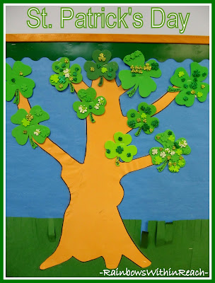 photo of: St. Patrick's Day Bulletin Board of Shamrocks at RainbowsWithinReach