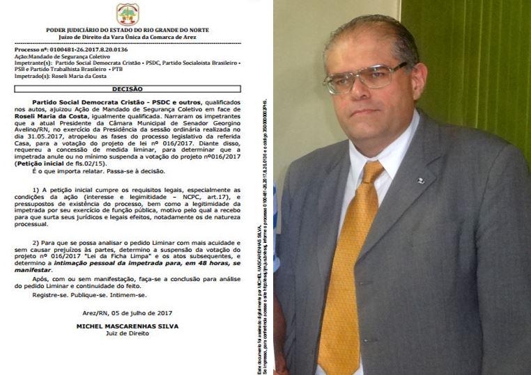 """Juiz da Comarca de Arez determina a suspenção da votação do Projeto de Lei Nº 016/2017 """"Lei da Fich"""