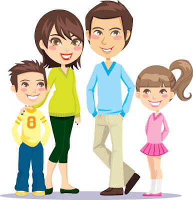 vector familia de padre, madre, niño y niña