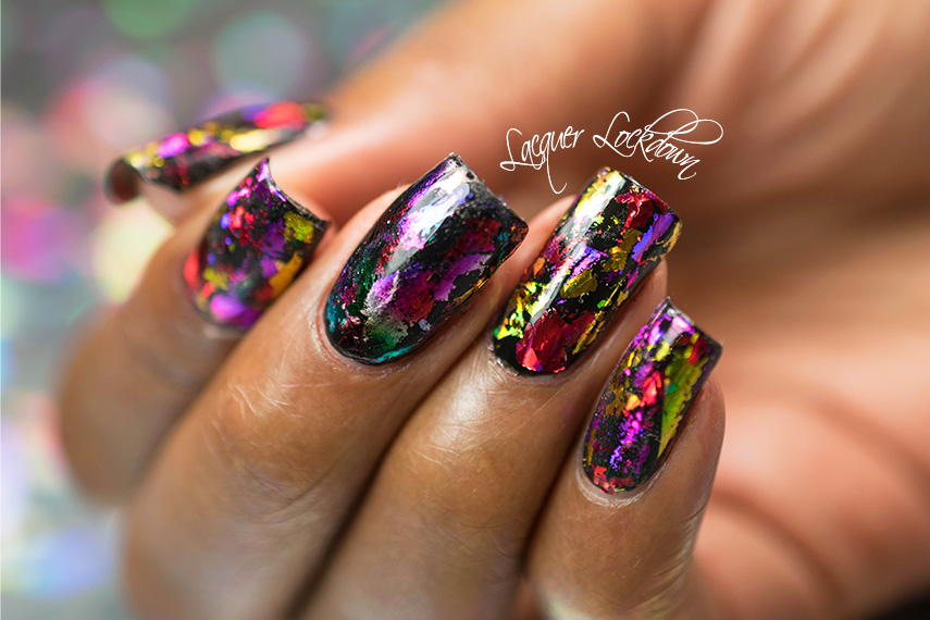 Lacquer lockdown scattered holographic foil nail art tutorial lacquer lockdown nail art foil nail foil essie licorice nail art tutorial prinsesfo Images