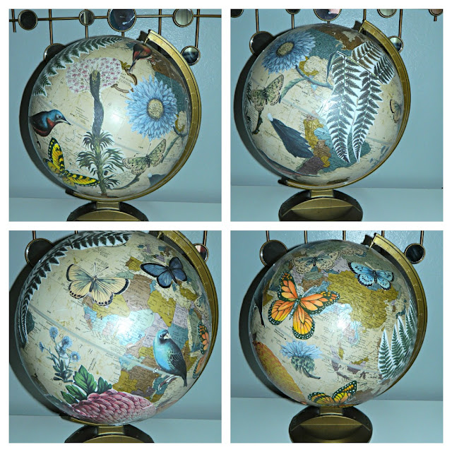 DIY Mod Podge decoupage globe art Just Peachy, Darling