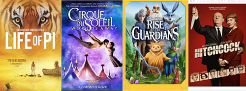 Life of Pi, Cirque du Soleil, Rise of the Guardians, Hitchcock