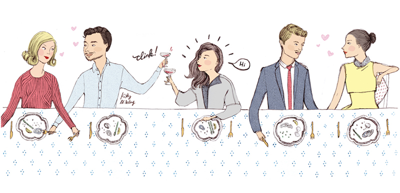 Kitty N. Wong / Dinner party illustration for Hong Kong Tatler