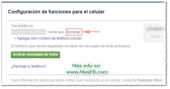 Eliminar número celular de Facebook - MasFB