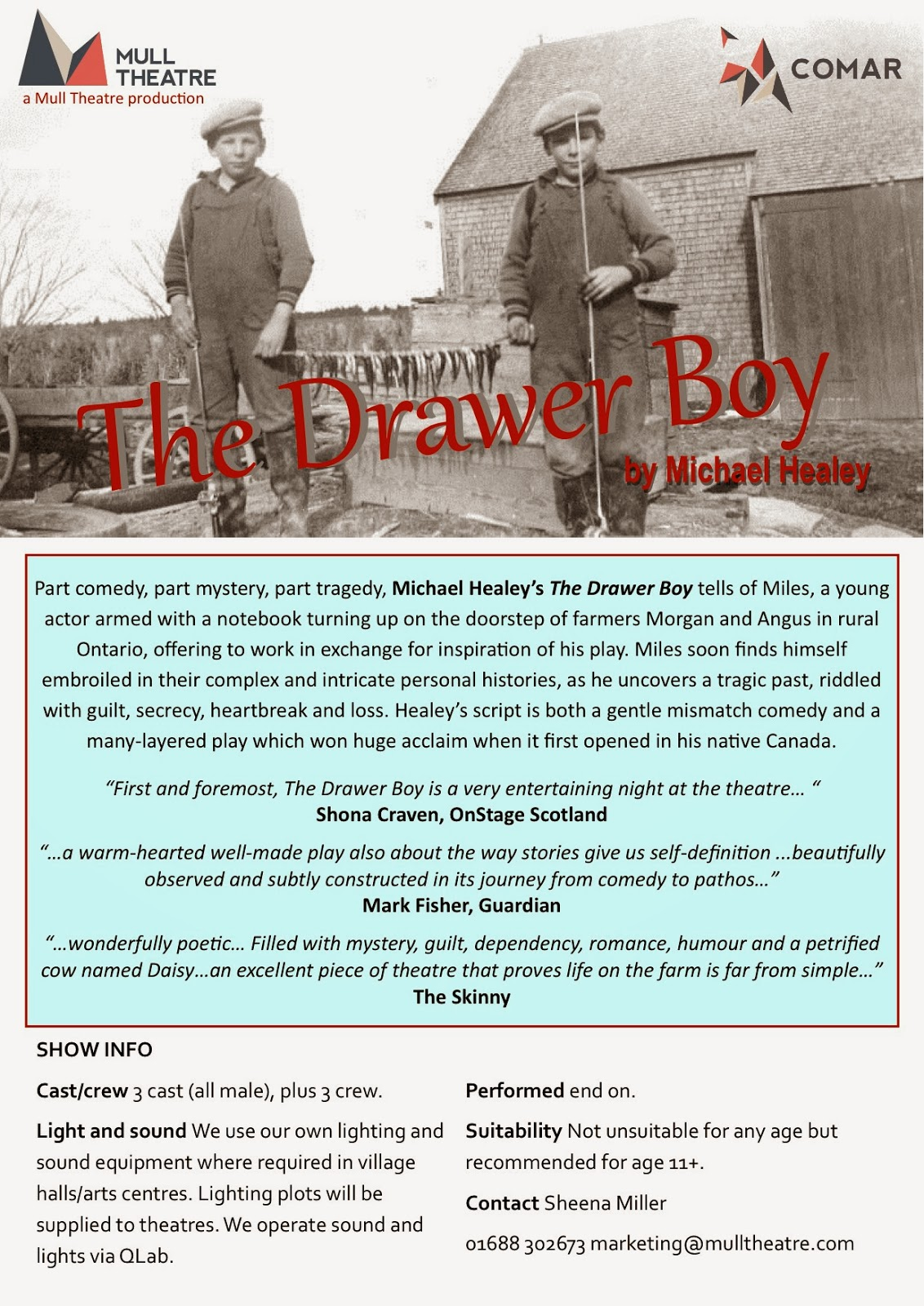 a plot analysis of michael healeys the drawer boy The drawer boy by michael healey (a playgoer's guide) synopsis: it's 1972, and a self-absorbed young toronto actor, miles, arrives on a.